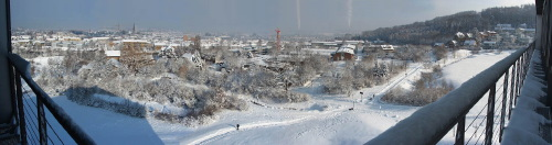 Panoramic view on record snow fall